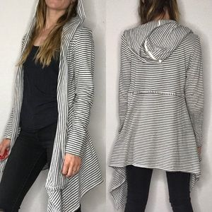 Max Studio weekend striped hooded cardigan
